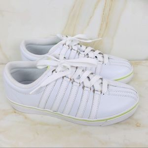 K-SWISS CLASSIC WOMENS WHITE/LIME TENNIS SHOES 6.5 for sale